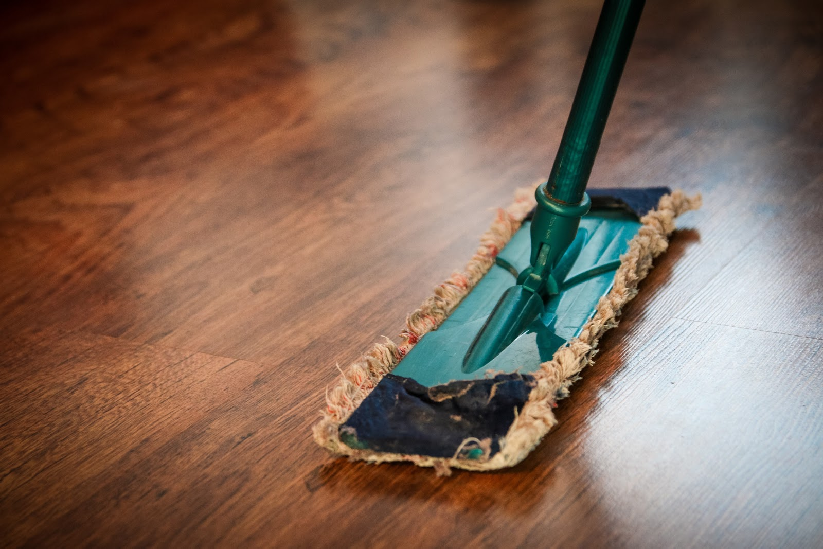A mop in action on a hardwood floor.